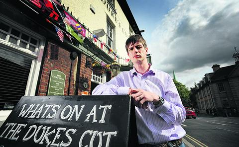 thisisoxfordshire: Landlord James Knox at the Duke's Cut pub. He is angry about a possible levy on pubs which sell alcohol late