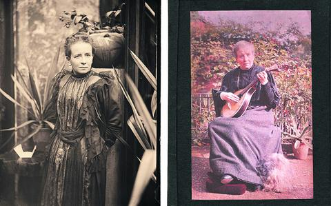 Self-portraits by Sarah Acland taken in 1894 and 1910, on a gelatine negative and autochrome plate