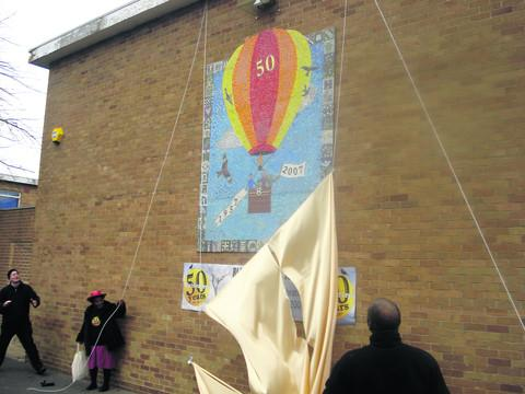 The unveiling of the mosaic in 2007