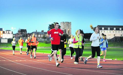 thisisoxfordshire: Oxford Mail head of content Jason Collie, centre, took part in the half-marathon training session