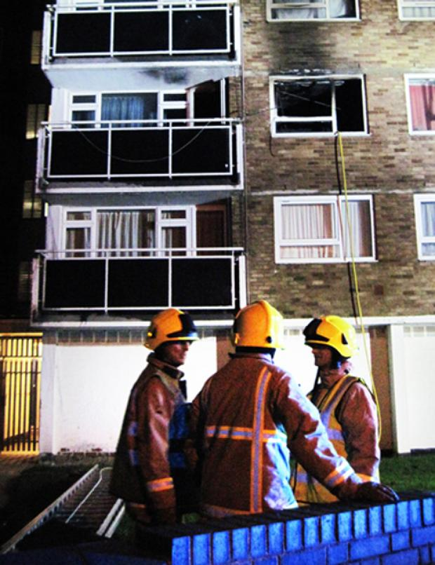The Fire Service attending a suspected arson at Foresters Tower, Oxford