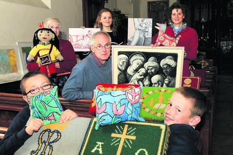 thisisoxfordshire: Pictured back from left with exhibits are Rita Brown, Gillian Armitstead, the Rev Armitstead, centre Andy Walton and, front, Connor Temple, left, and Archie Dix