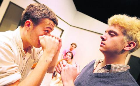 thisisoxfordshire: Barney White, 20, who plays Eddie, pictured left sparring with Rodolpho played by Peter Huhne