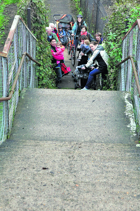 Residents at the bottom of the steep steps leading to Hinksey Bridge