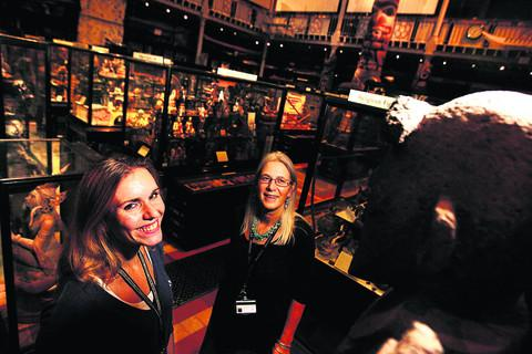 Pitt Rivers Museum staff Kate White, left, and Helen Hales. Picture: OX54997 Ed Nix