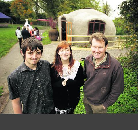 thisisoxfordshire: Dome designer Jay Emery, right, with North Oxfordshire Academy pupils Ryan Griffin and Amy Gray, who helped build the dome house