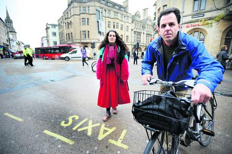 Chairman of the Oxford Pedestrians' Association Sushila Dhall and Cyclox's Richard Mann at the taxi rank. Picture: OX55187 Richard Cave