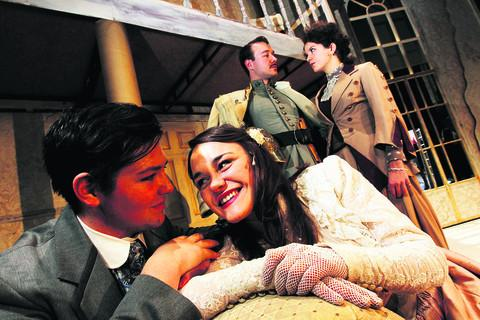 thisisoxfordshire: Pictured from left are Richard Hill as Fredrik Egerman, Ellan Timothy as Anne Egerman, Aleks Cvetkovic as Count Carl-Magnus and Georgina Hellier as Desiree Armfeldt