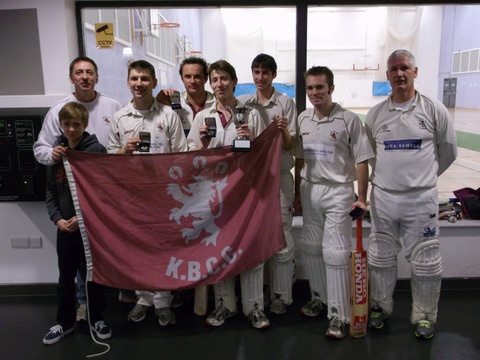 Kingston Bagpuize celebrate after winning the OCB Indoor League