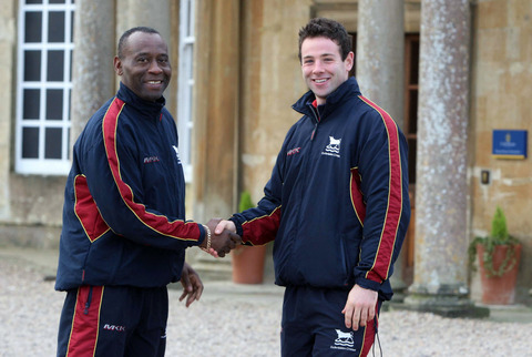Luke Ryan (right) is congratulated on becoming Oxfordshire's new captain by Rupert Evans, the county's head of cricket