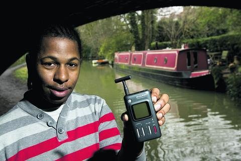 Jordon Maynard-Daley recording the sounds of the Oxford Canal