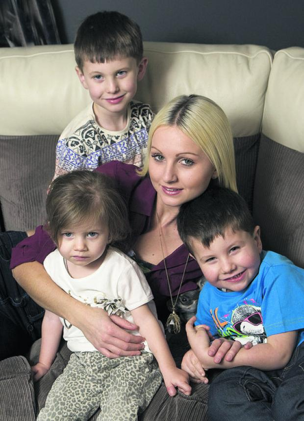 thisisoxfordshire: Stella Moore, who got through to Top Model UK finals, with children Reggie, back, Tilly and Reuben