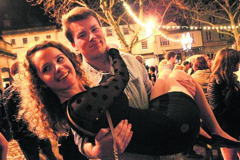 thisisoxfordshire: Alex Wilson and Katie Finlayson were among the crowd celebrating the start of 2013 in Witney's Market Square