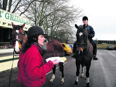 thisisoxfordshire: From left, Ayles Ergeneli with her horse Odessa and Vicky Scott-Taylor on Mr P at Osney Mead Industrial
