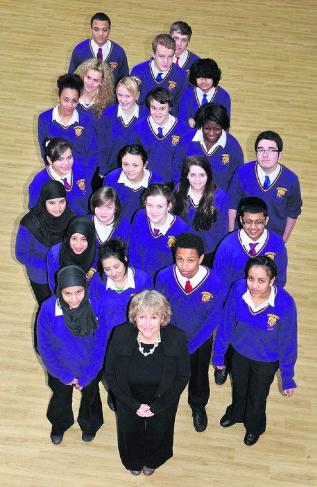 Spires Academy headteacher Sue Croft with class 11BE1