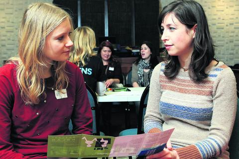 Caroline Berger, right, talks to Holly Harris at the Oxford Jewish Centre