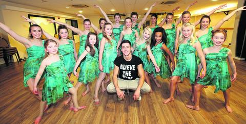 Dance Connection dancers at the studios with the school's new patron, choreographer, Ben Davies
