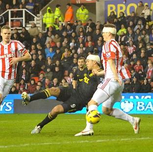 Franco Di Santo, centre, scored Wigan's equaliser at Stoke