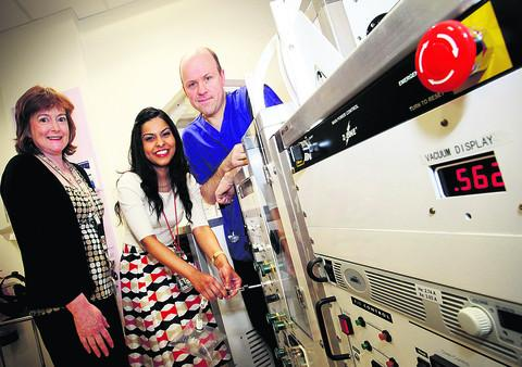 Dr Jenni Lee, left, Dr Tahreema Matin and radiographer Anthony McIntyre with some of the high-tech equipment being used at the Churchill Hospital, Headington, to investigate a new lung imaging technique