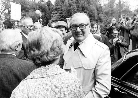 Prime Minister Jim Callaghan arrives at Ruskin College in 1976