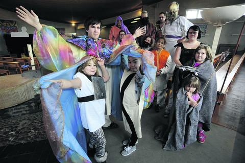 Sheldon Smith, who stars as Joseph, pictured front left with Mia Gomm, eight, left, Camiya Wall, nine, right, and other cast members. Picture: OX57395 David Fleming
