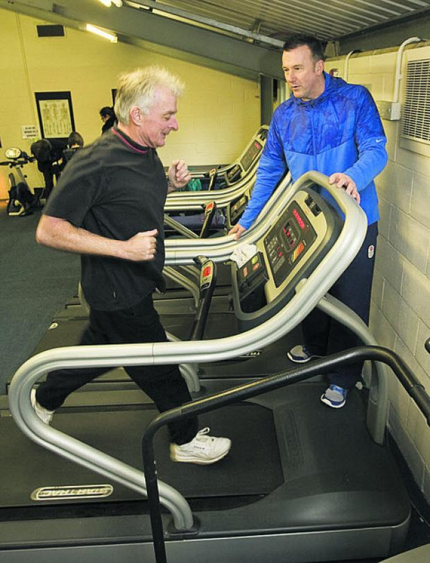 Gym user Brian McErlain with manager Paul Saxton Picture: OX57377