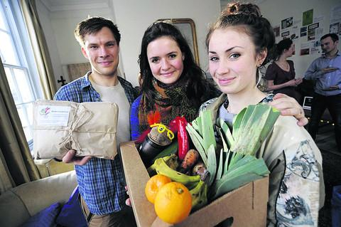 From left, Ben Wilkins, creator of Student Vegetables Diaries, giving students the basic tools to grow their own veg, with the creators of Oxco-op Vera Wriedt and Claire Fenner. Picture: OX57388 David Fleming