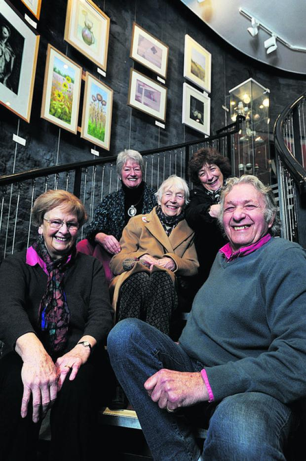 Art teacher Norman Rechter with, from left, Rosemarie Deepwell, Jennifer Byrne, Mary McInnes and Philippa Redman