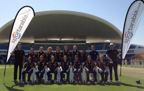 Linsey Smith (front row, far left) with the victorious MCC team at the Zayed Stadium in Abu Dhabi