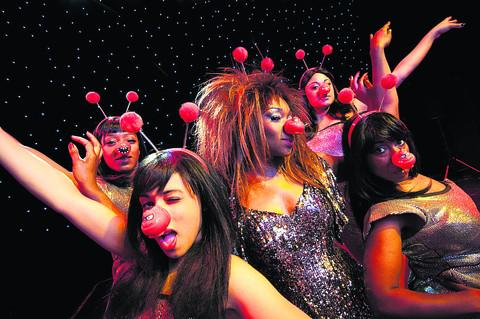 Tina and her Ikettes have a Red Nose Day makeover. From left, front, Portia Harry and Cleopatra Joseph. Back, Tamara McKoy-Patterson and Katy Lye with Emi Wokoma as Tina Turner, centre       Picture: OX57736 Andre