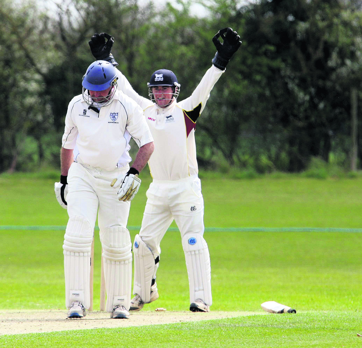 Oxfordshire wicket-keeper Jonny Cater celebrates as Bedfordshire opener Steve Stubbings unluckily hits his own wicket to fall six runs short of a century
