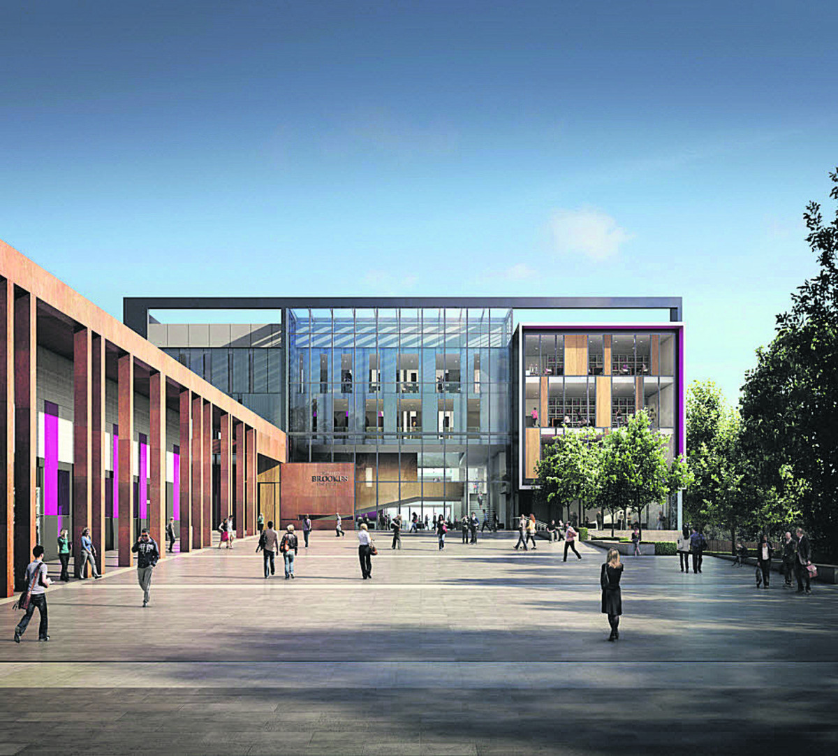 An artist's impression of the entrance to the new John Henry Brookes Building main entrance at Oxford Brookes University's Headington campus