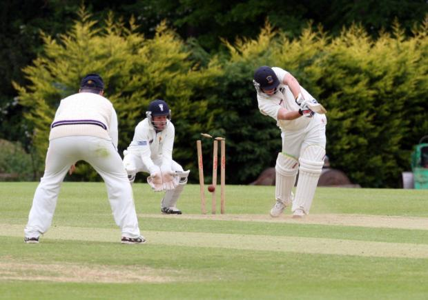 Oxfordshire's Francois Vainker is bowled for ten by Cheshire's Jack Williams during the first innings