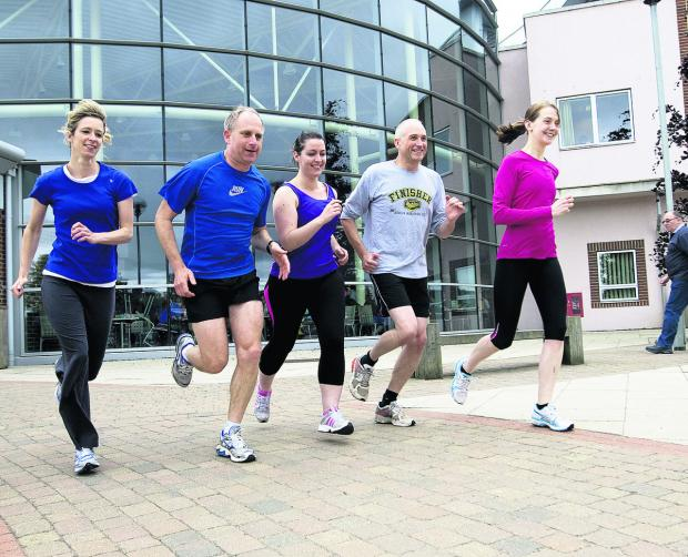ON THE RUN: Nuffield staff, from left, Niki Keene, Phil Coleman, Lindsay Charlesworth, Simon Wood and Jess Wilson