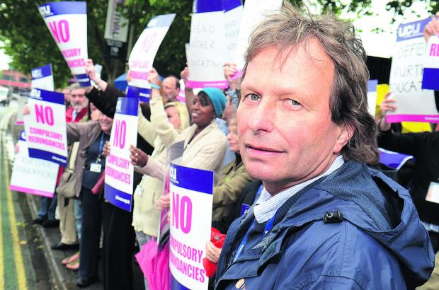 Teachers and staff at Oxford and Cherwell Valley College protest