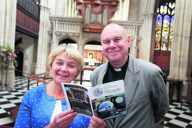 Debbie Dance of the Oxford Preservation Trust and Canon Brian Mountford at the University Church of St Mary the Virgin which is taking part in this weekend's Open Doors event. Picture: OX61834 Damian Halliwell