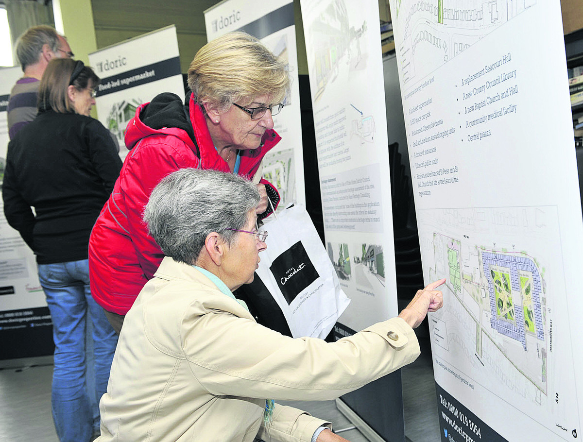 Residents take a look at the plans at yesterday's exhibition