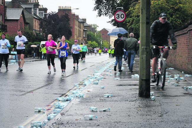 The litter along Iffley Road after the race