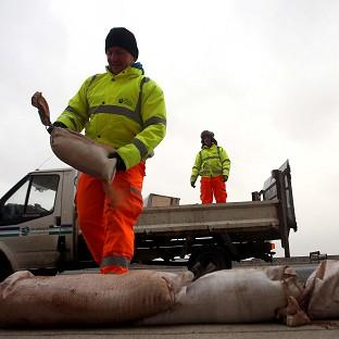 Council workers put sandbags on the paths leading to houses on the Coast Road in Rhyl, North Wales.