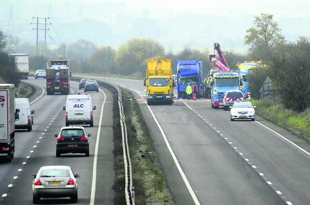 thisisoxfordshire: The southbound A34 was blocked after a crash