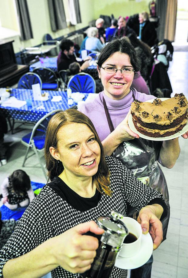 thisisoxfordshire: Liz Burton, left, and Jane Hull at the Apple Cafe. Picture: OX64676 Mark Hemsworth