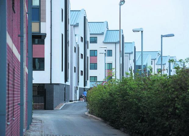 Castle Mill accommodation viewed from Roger Dudman Way
