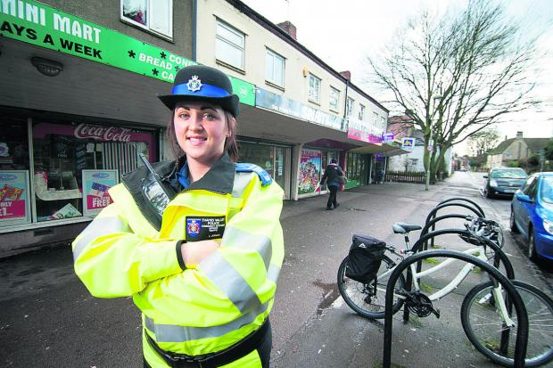 NICE AND QUIET: PCSO Lori Jones outside shops in Cowley Road, Littlemore