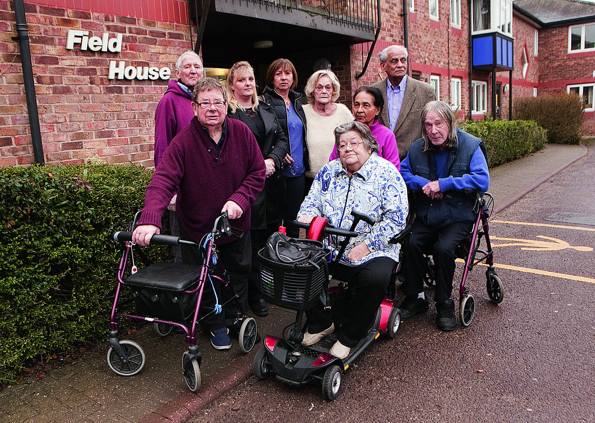 Residents and members of Royal Voluntary Service at Field House, Botley. Peter Coles, second from left, said they will fight the West Way plans