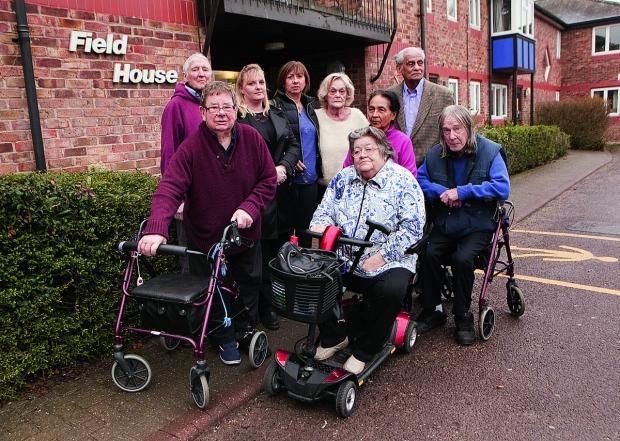 thisisoxfordshire: Residents and members of Royal Voluntary Service at Field House, Botley. Peter Coles, second from left, said they will fight the West Way plans