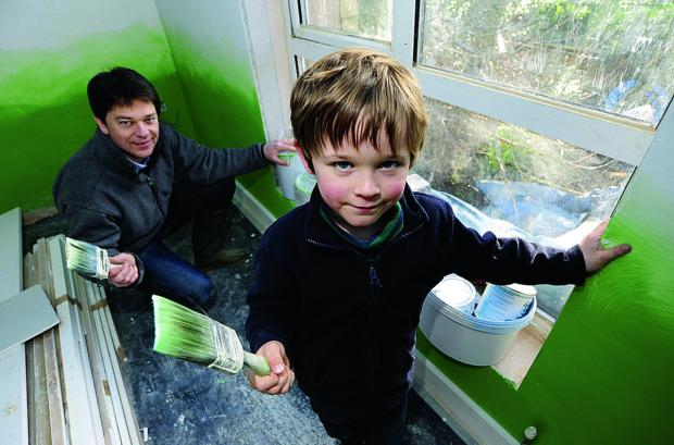thisisoxfordshire: Tim Nicholson gets some help redecorating the house from son Benjamin, six
