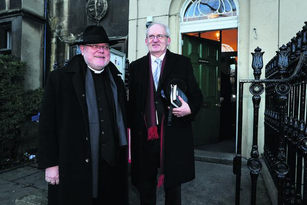 thisisoxfordshire: Professor Cardinal Reinhard Marx, pictured left with the Master of St Benet's Hall, Prof Werner Jeanrond