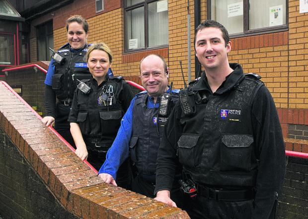 thisisoxfordshire: Sgt Martyn Williams, right, is the new head of the Barton neighbourhood police team. Also pictured are Pcso Libbie Stiff, Pc Dawn Evans and Pcso Nigel Pearce