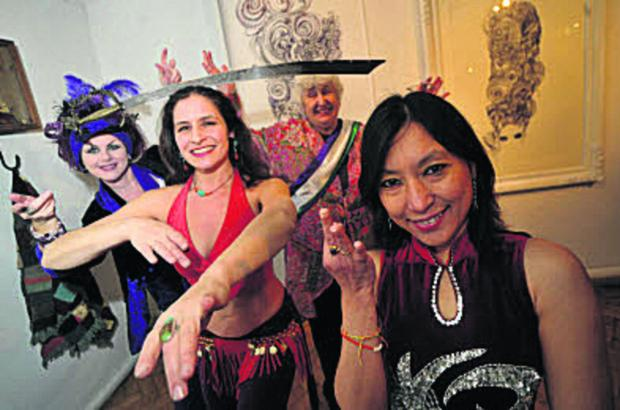 thisisoxfordshire: Launch of the 2014 Oxford International Women's Festival; from left, Mazz Image, dancer Helena Melone, Anne Mobbs and Sandy Thin Mar Oo