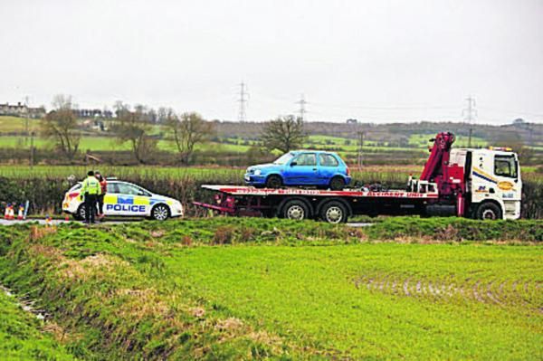 The car is recovered at the scene yesterday